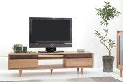 オーク無垢材とウォールナット無垢材を使ったテレビボード
