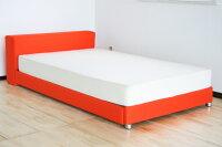 選べる3色ファブリックベッドベイシス・オレンジ・色のある暮らしを♪セミダブルサイズ・DXポケットコイルマット付