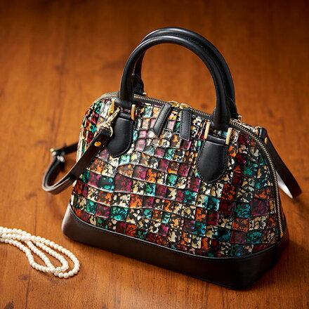 イタリアレザーハンドバッグ本革イタリアンレザーバッグハンドバッグ自立エナメルデザインステンドグラス軽量バッグカバン鞄大人軽い