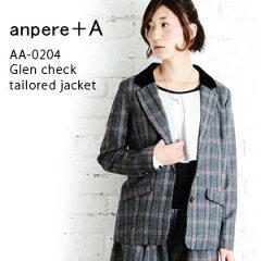 ●送料無料●【anpere+A】グレンチェックテーラードジャケット●メール便不可●