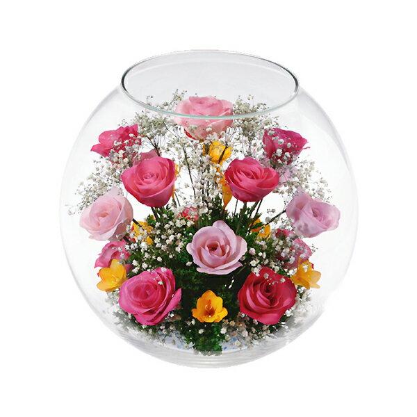 本物の花で、想いを伝える。レンデフロール バラ・フリージア・かすみ草 C-N:アネット汐留