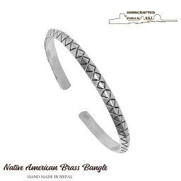 バングル メンズ ネイティブアメリカン ナバホ 真鍮 ブラス バングル ブレスレット シルバー メンズ アクセサリー vbl-001