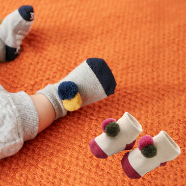 【ベビー】【Ampersand】ポンポンソックス【ベビー 赤ちゃん ベビー服 男の子 女の子 おとこのこ おんなのこ ウェア ウエア 靴下 くつした くつ下 あったか 暖か 冷え防止 冷え対策】
