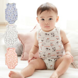 Ampersand メッシュ インナーボディ ロンパース ノースリーブ タンク 男の子 女の子 ベビー服 赤ちゃん 肌着 総柄 動物柄 白 ピンク