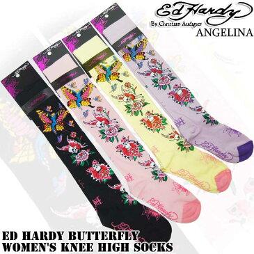 ニーハイソックス!エドハーディーバタフライ エドハーディ靴下(ED HARDY エド・ハーディー Butterfly Women's Knee High Socks EH02703KH イエロー ピンク ブラック パープル靴下 本物エドハーディー クリスチャンオードジェー )*es