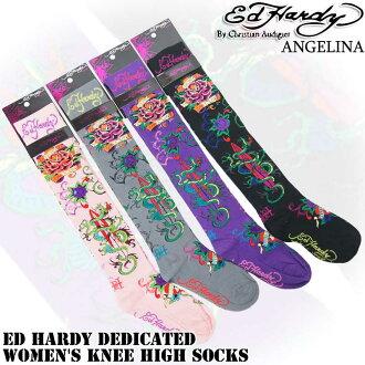膝蓋高的襪子 !Edhardyrosedragon Ed Hardy 襪子 ED 哈代 Ed Hardy 致力於婦女的膝蓋高的襪子 ec02701kc 灰色粉色黑色紫色襪子正宗 Ed 哈代基督教奧迪吉耶) * es10P30Nov14