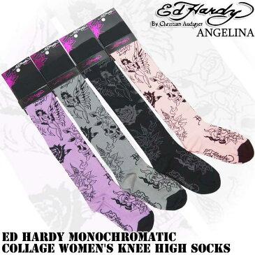 ニーハイソックス!エドハーディートゥルーラブ エドハーディ靴下(ED HARDY エド・ハーディー MonochromaticCollageWomen'sKneeHighSocks EH02702KH グレー ピンク ブラック パープル靴下 本物エドハーディー クリスチャンオードジェー)*es