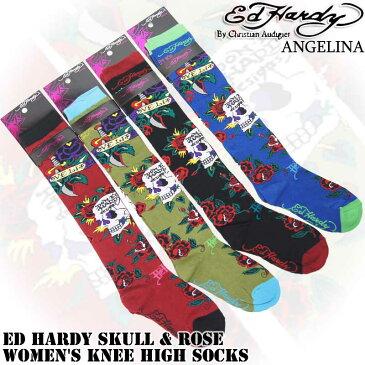 ニーハイソックス!エドハーディースカル&ローズ エドハーディ靴下(ED HARDY エド・ハーディー Skull & Rose Women's Knee High Socks EH02705KH ブラック オリーブ ネイビー レッド靴下 本物エドハーディー クリスチャンオードジェー )*es