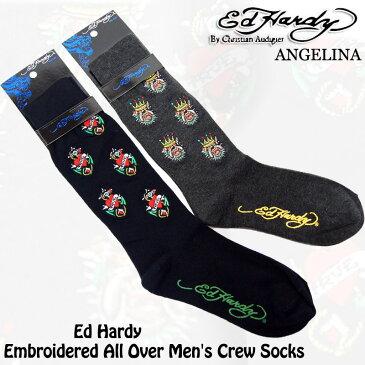 メンズハイソックス!エドハーディーブルドック&ラブ エドハーディ靴下(ED HARDY エド・ハーディー Embroidered All Over Men's Crew Socks # EH02709CS ブラック グレー靴下 本物エドハーディー クリスチャンオードジェー )*es