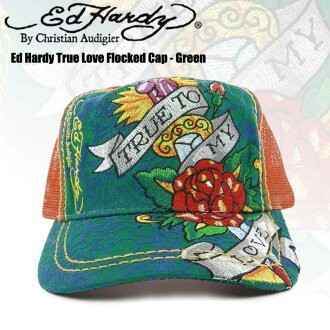 Ed Hardy Ed Hardy 真正愛 Flocked 帽-綠色 Ed 哈代章綠綠橙 Ed Hardy 玫瑰一種尺寸適合所有中性 Ed Hardy 牛仔與 Ed Hardy 標記安吉麗娜 10P30Nov14