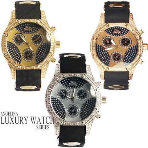 メンズ腕時計 Pave Master ダイヤモンド リリーラグジュアリーラバーベルトウォッチ 電池式腕時計 アナログクォーツ 紳士腕時計 ブリンブリン海外モデル インポートセレクトショップジュエリーウォッチDJ宝石ダンスジェイコブフランスパリイタリア