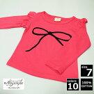 ■キッズ■リボン柄フリル長袖Tシャツ■白・黄・ピンク・ローズピンク■子供服■
