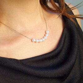 K18WGあこや真珠を自由に動かせるアレンジスルーネックレス(7mm)