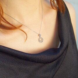 K18WGダイヤモンドネックレス(0.02ct)【首まわり5%OFF♪(ご注文確認後に金額修正)】