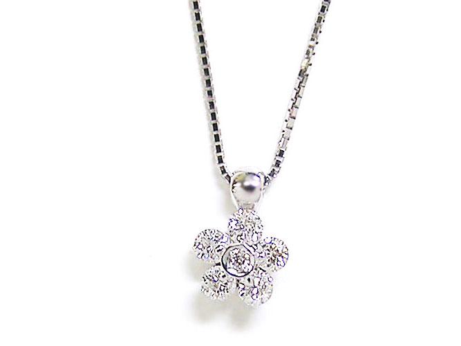 【27日まで!3つ目(3点同時購入の内1番安い商品)半額セール♪】K18WGワンサイドフラワーセッティングダイヤモンドプチネックレス(D 0.300ct):アンジェラ(宝石の卸屋さん)