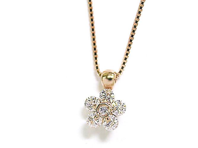【21日まで!2個以上お買い物で7%OFFクーポン配布中♪】K18(ピンクゴールド)ワンサイドフラワーセッティングダイヤモンドプチネックレス(D 0.300ct):アンジェラ(宝石の卸屋さん)