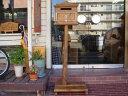 【ご注文製作】アンティークブラウン◇ステンシル郵便マーク入り木製横型ポスト◇ひのきの自然木台つき