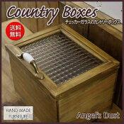 カントリーボックス木製ひのきアンティークブラウンチェッカーガラス扉収納箱おもちゃ箱25×20×18cmウッドボックス
