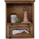 キャビネット ティッシュボックス 壁掛け アンティークブラウン 29×12×36cm 木製 ひのき ハンドメイド オーダーメイド