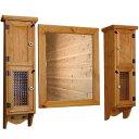 スリムキャビネット&ミラーシェルフセット ナチュラル w80d15h60cm 洗面化粧台 木製 ひのき オーダーメ...
