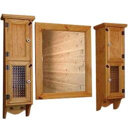スリムキャビネット&ミラーシェルフセット ナチュラル w80d15h60cm 洗面化粧台 木製 ひのき オーダーメイド 1628406