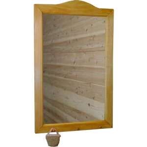 ナチュラル◇大きめ木製シンプルミラー◇ペグつき(45×70センチ)