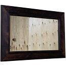 ミラー太枠吊り下げ金具付きダークブラウン75×2×50cm角型木製ひのきハンドメイドオーダーメイド