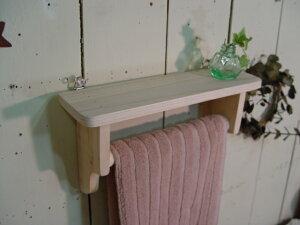 無塗装白木◇木製ハンガーミニミニシェルフ◇タオルハンガー半折タイプ