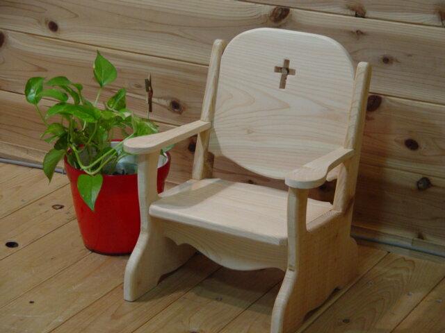 【ご注文製作】無塗装白木◇クロスの木製ナチュラルベビーチェア 子供用椅子 十字架(クロス)のカットが素敵!ひのきの木製ベビーチェアー