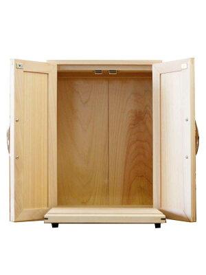 ペットのおぶつだんメモリアルハウスペット用木製ひのきアンティーク調家具木製扉台座付き32×22×44cm無塗装白木