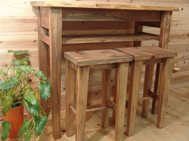 アンティークブラウン カウンターテーブル&角型スツール(高さ60cm)2脚セット 受注製作:エンジェルズ ダスト