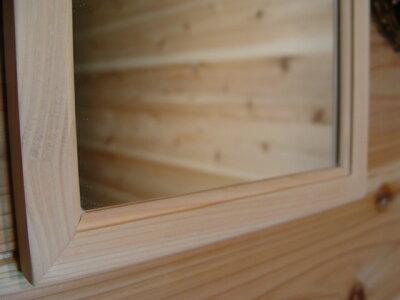 ひのきの木製◇細枠正方形ミラー無塗装白木