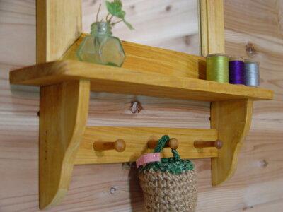 ナチュラル◇木製シンプルミラーシェルフ◇ペグ付