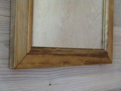 アンティークブラウン◇ひのきの木製ナチュラルミラー