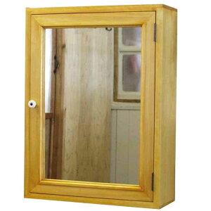 ミラーキャビネット木製ひのきアンティーク調家具ミラー扉木製キャビネットシェルフ全面ミラータイプ背板つき45×15×60cmナチュラル