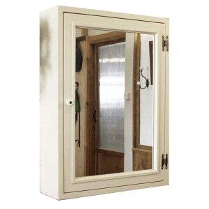 ミラーキャビネット木製ひのきミラー扉の木製キャビネットシェルフ全面ミラータイプ背板つき50×15×65cmアンティークホワイト