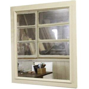 ミラー木製ひのきアンティーク調家具木製フレームミラー50×55cmウォールミラー壁掛け鏡アンティークホワイト