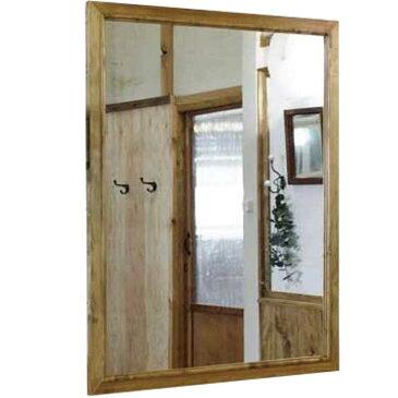 ミラー 鏡 アンティークブラウン w80d2h100cm 吊り下げ金具付 木製 ひのき オーダーメイド