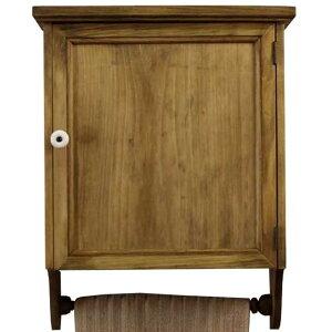 ミラーキャビネット木製ひのきアンティーク調家具内側ミラー木製扉タオルハンガー付き37×14×47cmアンティークブラウン