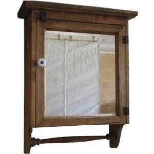 アンティークブラウン◇ミラー扉の壁掛けキャビネット二段棚◇背板・ハンガーつき