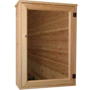 ライトオーク◇ミラー扉の木製キャビネットシェルフ◇全面ミラータイプ