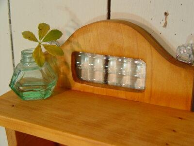 フランス製チェッカーガラス◇ナチュラル木製トイレットペーパーホルダー☆シェルフ付