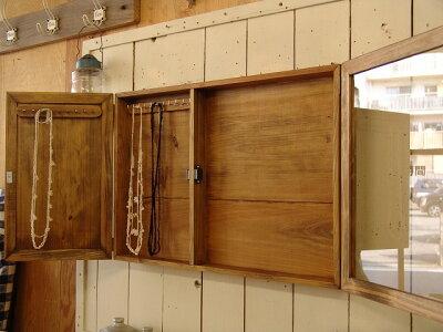 アンティークブラウン◇ディスプレイと収納が出来る壁掛けアクセサリーケース◇ディスプレイケース