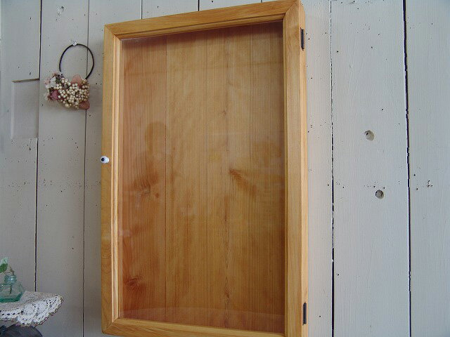 ナチュラル 透明ガラスの壁掛けディスプレイケース(35×6×55cm)ロングタイプ 受注製作