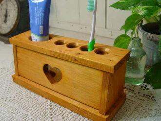 天然木材心牙刷架-持有 4 牙刷架