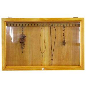 アクセサリーケース壁掛け木製ひのきアンティーク調家具透明ガラス扉ディスプレイケース55×6×35cm横型ジュエリーケース