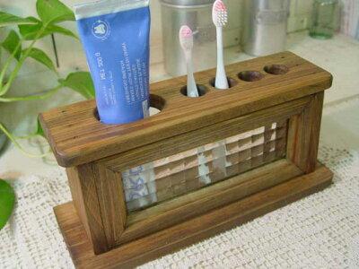 アンティークブラウン◇フランス製チェッカーガラスの歯ブラシスタンド◇ハブラシホルダー