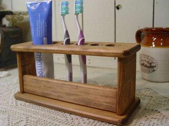 古色古香的棕色木牙刷站-持有 4 牙刷架