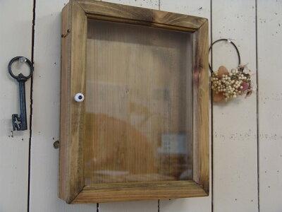 アンティークブラウン◇透明ガラスの壁掛けディスプレイケース(25×7×31cm)◇スクラップブッキングにも!