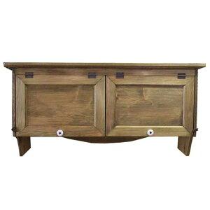 吊り戸棚横型キャビネット木製ひのきダブル扉キッチンキャビネット80×27×40cm壁掛けタイプアンティークブラウン